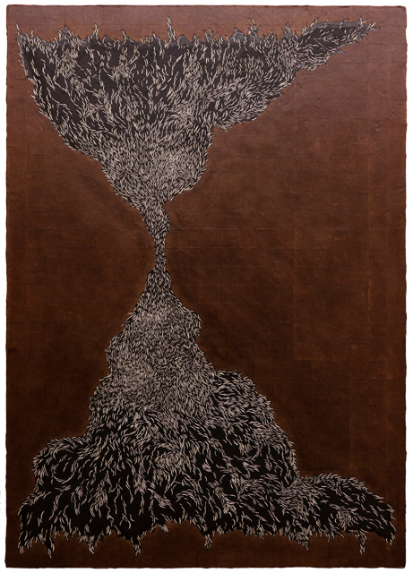 Carve Painting 2016 No.01 White & Black 2016 150×105.5 cm wood, acrylic paint, Japan paper, Kakishibu Photo: Takayuki Daikoku