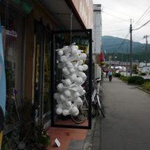 whitedrops & blackline No.2 -Sato bicycle shop-, 2016, 135×68×68cm, Mixed Media, Ofunato, Japan photo : Takayuki Daikoku